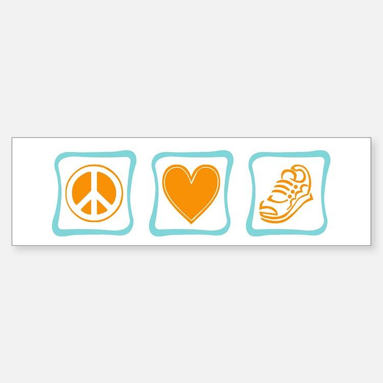 Peace, Love and Running Bumper Bumper Sticker