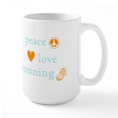 Peace, Love and Running Large Mug