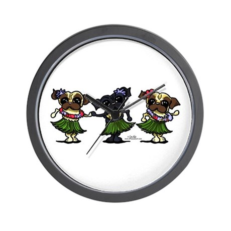 Hula Dancer Pugs Wall Clock