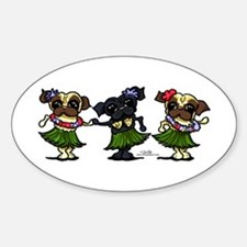 Hula Dancer Pugs Decal