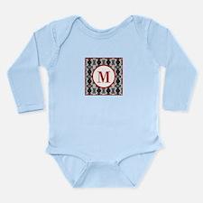 Diamond Red Monogram Long Sleeve Infant Bodysuit