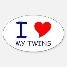 I Heart My Twins Oval Decal
