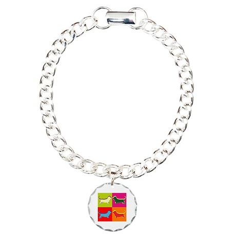 Basset Hound Silhouette Pop Art Charm Bracelet, On