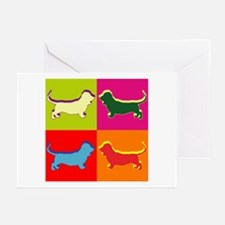 Basset Hound Silhouette Pop Art Greeting Cards (Pk