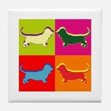 Basset Hound Silhouette Pop Art Tile Coaster