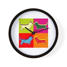 Basset Hound Silhouette Pop Art Wall Clock