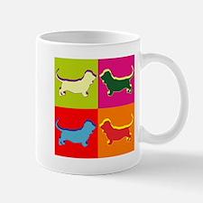 Basset Hound Silhouette Pop Art Mug