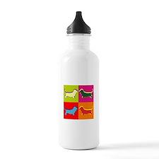 Basset Hound Silhouette Pop Art Water Bottle