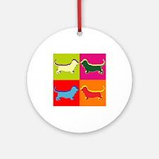 Basset Hound Silhouette Pop Art Ornament (Round)