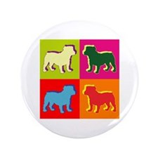"Bulldog Silhouette Pop Art 3.5"" Button"