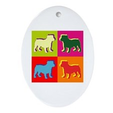 Bulldog Silhouette Pop Art Ornament (Oval)