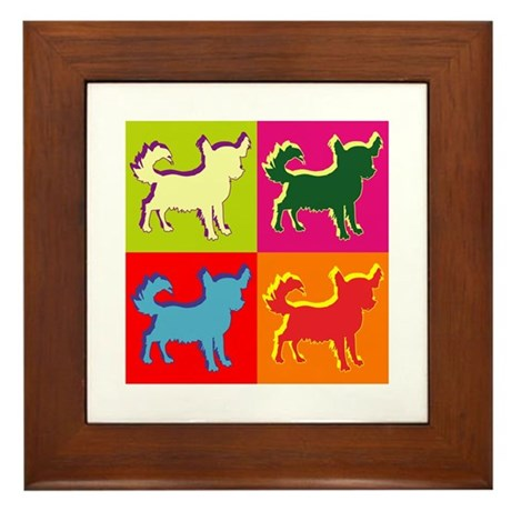Chihuahua Silhouette Pop Art Framed Tile