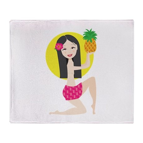 Hawaiian Girl Throw Blanket