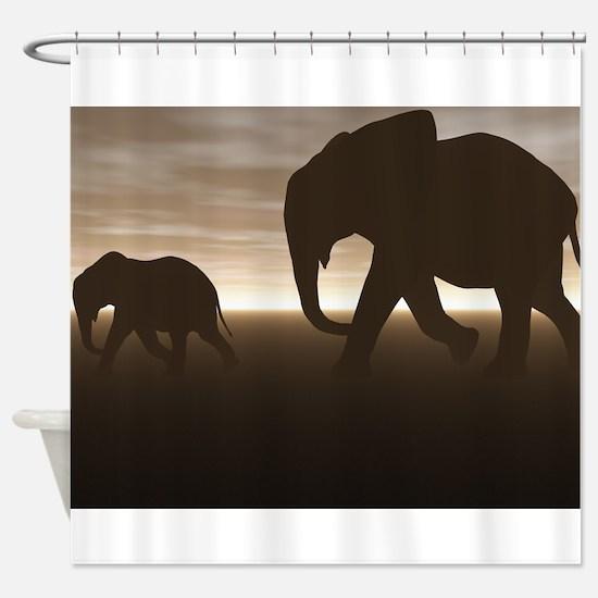 Brown Elephant Shower Curtain