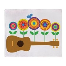 Ukulele Flowers Throw Blanket