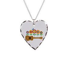 Ukulele Flowers Necklace Heart Charm