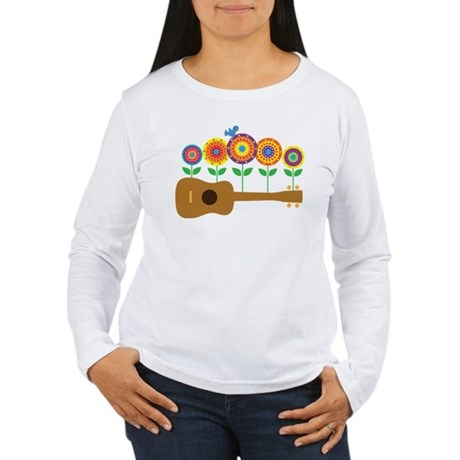 Ukulele Flowers Women's Long Sleeve T-Shirt