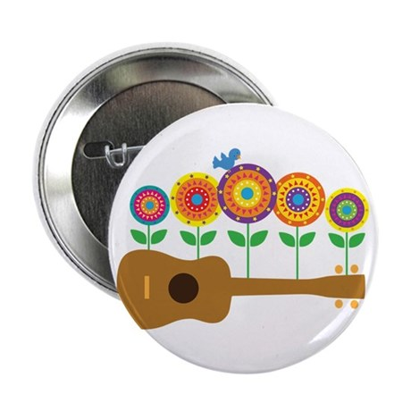"Ukulele Flowers 2.25"" Button (10 pack)"