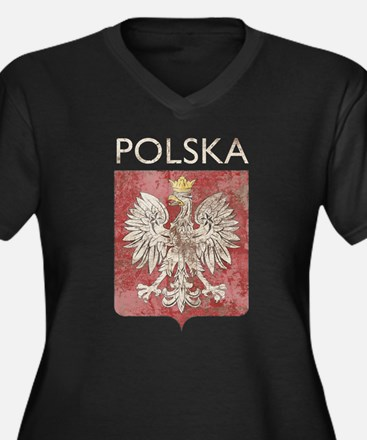 Vintage Polska Women's Plus Size V-Neck Dark T-Shi