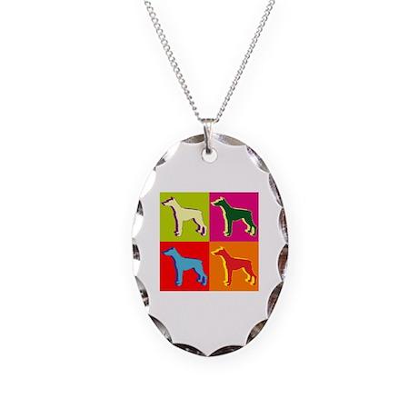 Doberman Pinscher Silhouette Pop Art Necklace Oval