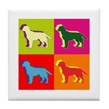 Labrador Retriever Silhouette Pop Art Tile Coaster