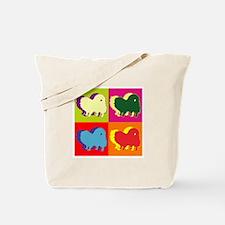 Pomeranian Silhouette Pop Art Tote Bag