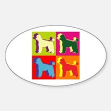 Poodle Silhouette Pop Art Sticker (Oval)