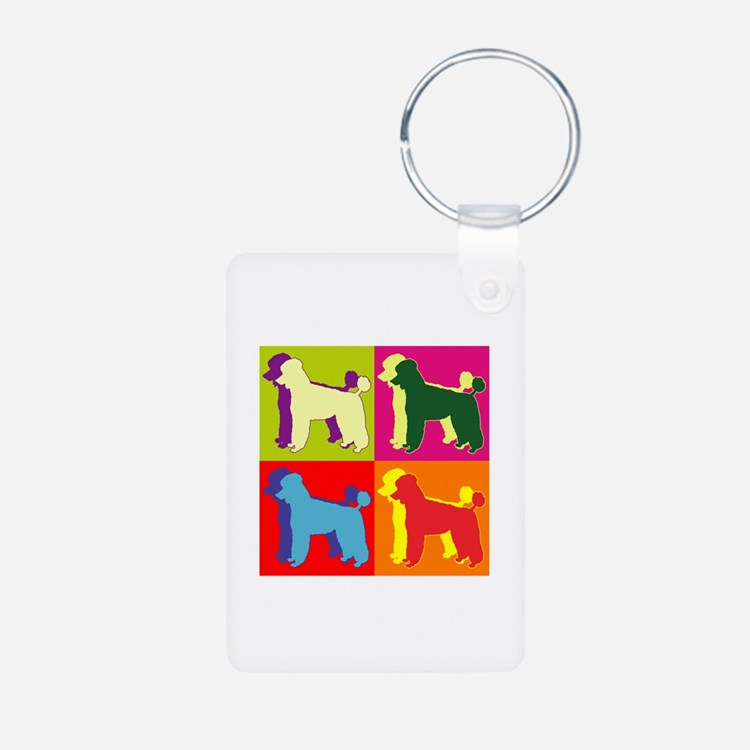 Poodle Silhouette Pop Art Keychains
