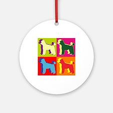Poodle Silhouette Pop Art Ornament (Round)