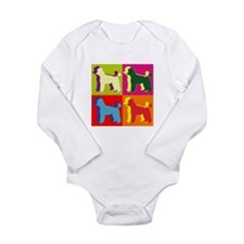 Poodle Silhouette Pop Art Long Sleeve Infant Bodys