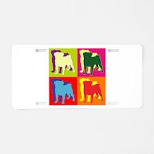 Pug Silhouette Pop Art Aluminum License Plate