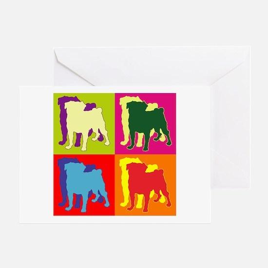 Pug Silhouette Pop Art Greeting Card