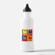 Pug Silhouette Pop Art Water Bottle