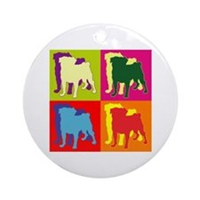 Pug Silhouette Pop Art Ornament (Round)