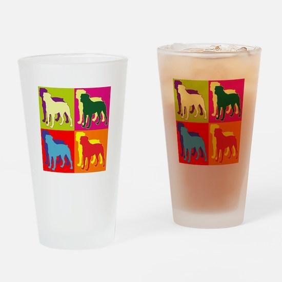 Rottweiler Silhouette Pop Art Drinking Glass