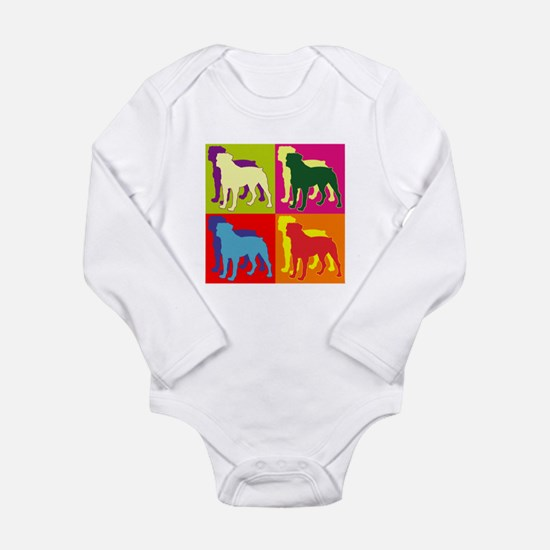 Rottweiler Silhouette Pop Art Long Sleeve Infant B