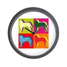 Saint Bernard Silhouette Pop Art Wall Clock