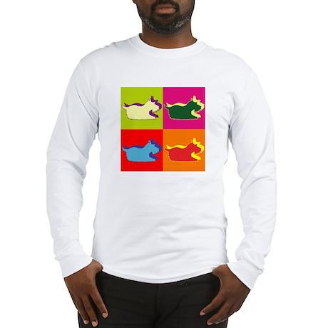 Schnauzer Silhouette Pop Art Long Sleeve T-Shirt
