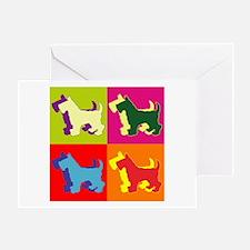 Scottish Terrier Silhouette Pop Art Greeting Card