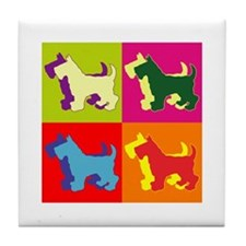 Scottish Terrier Silhouette Pop Art Tile Coaster