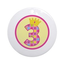 3rd Birthday Princess Crown Ornament (Round)