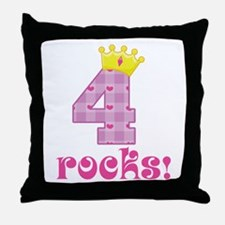 4th Birthday Princess Crown Throw Pillow