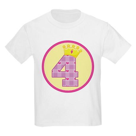 4th Birthday Princess Crown Kids Light T-Shirt