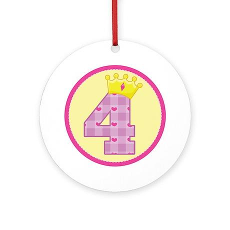 4th Birthday Princess Crown Ornament (Round)