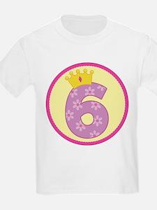 6th Birthday Princess Crown T-Shirt