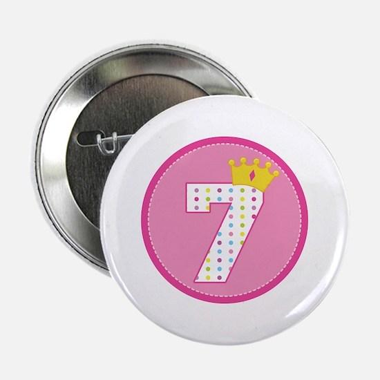 "7th Birthday Princess Crown 2.25"" Button"