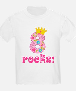 8th Birthday Princess Crown T-Shirt