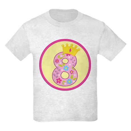 8th Birthday Princess Crown Kids Light T-Shirt