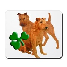 Irish terriers with shamrock Mousepad