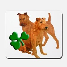 Irish terriers with shamrock Mousepad